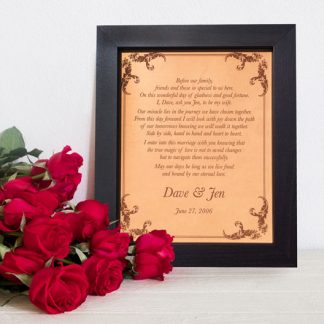 wedding vows keepsake, leather anniversary, valentines day gift, romantic vows