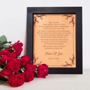 wedding vows keepsake, leather anniversary, valentines day gift, romantic vows