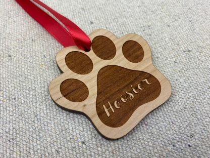 laser engraved wood paw ornament