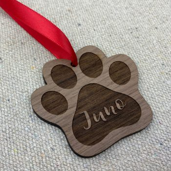 dog paw personalized holiday ornament