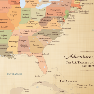 adventure awaits map, cotton anniversary gift idea