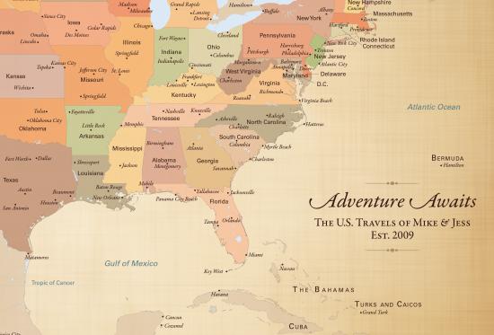 adventure awaits map, cotton anniversary gift idea