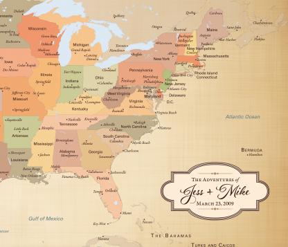personalized wanderlust map, cotton anniversary gift idea