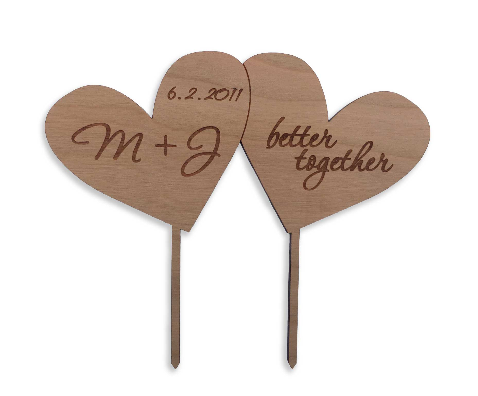 wood hearts cake topper