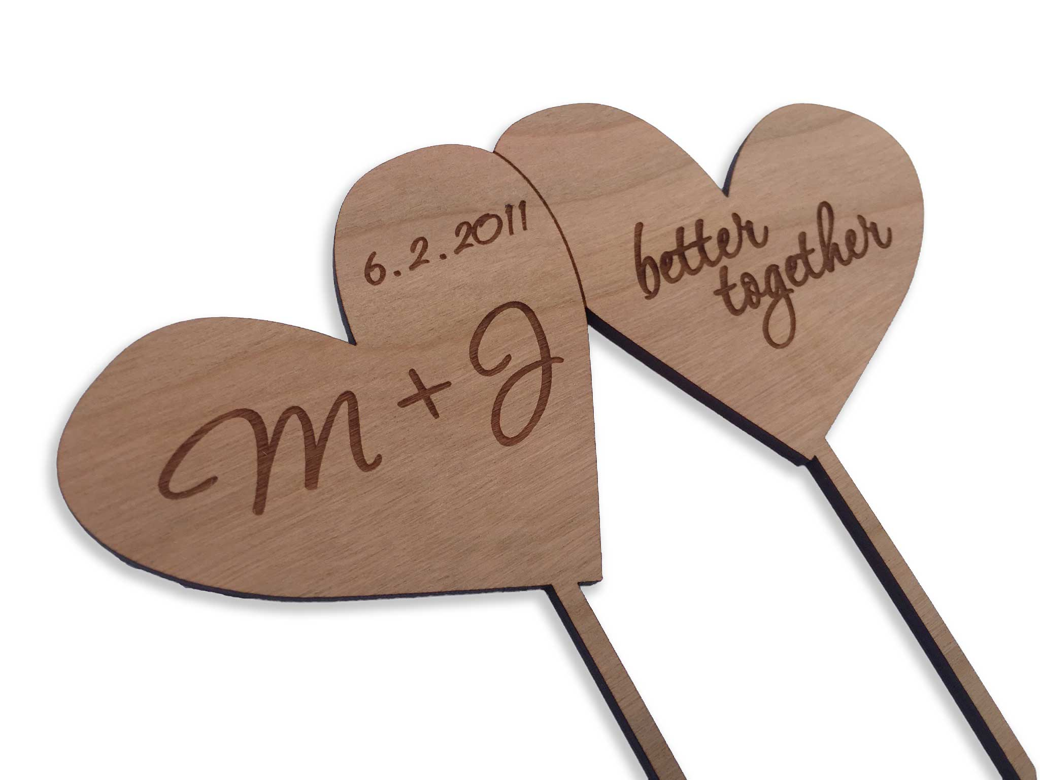 2 hearts cake topper