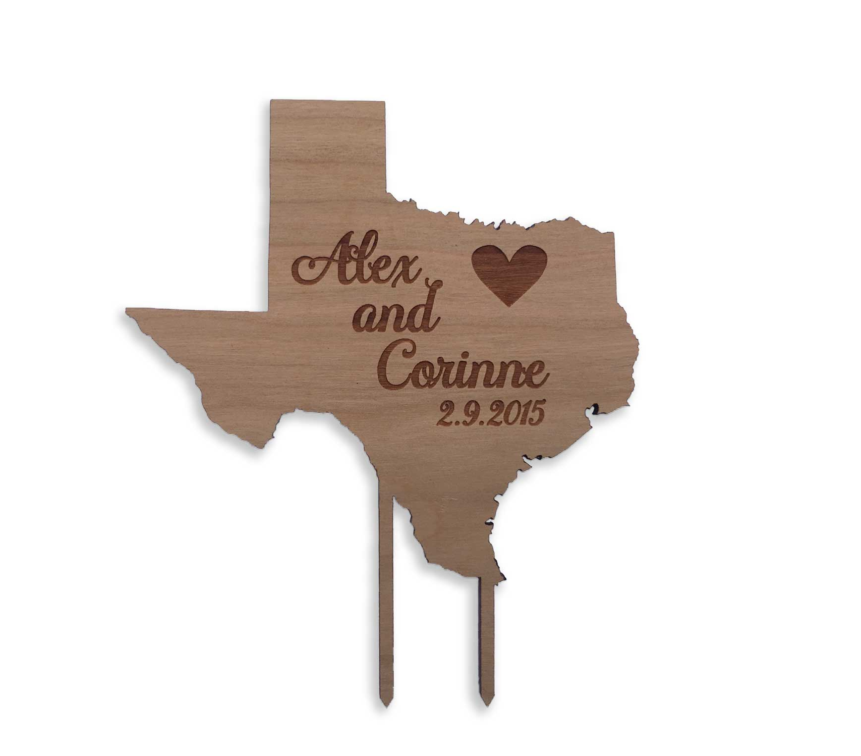 personalized texas state cake topper