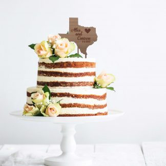 state cake topper for country rustic wedding