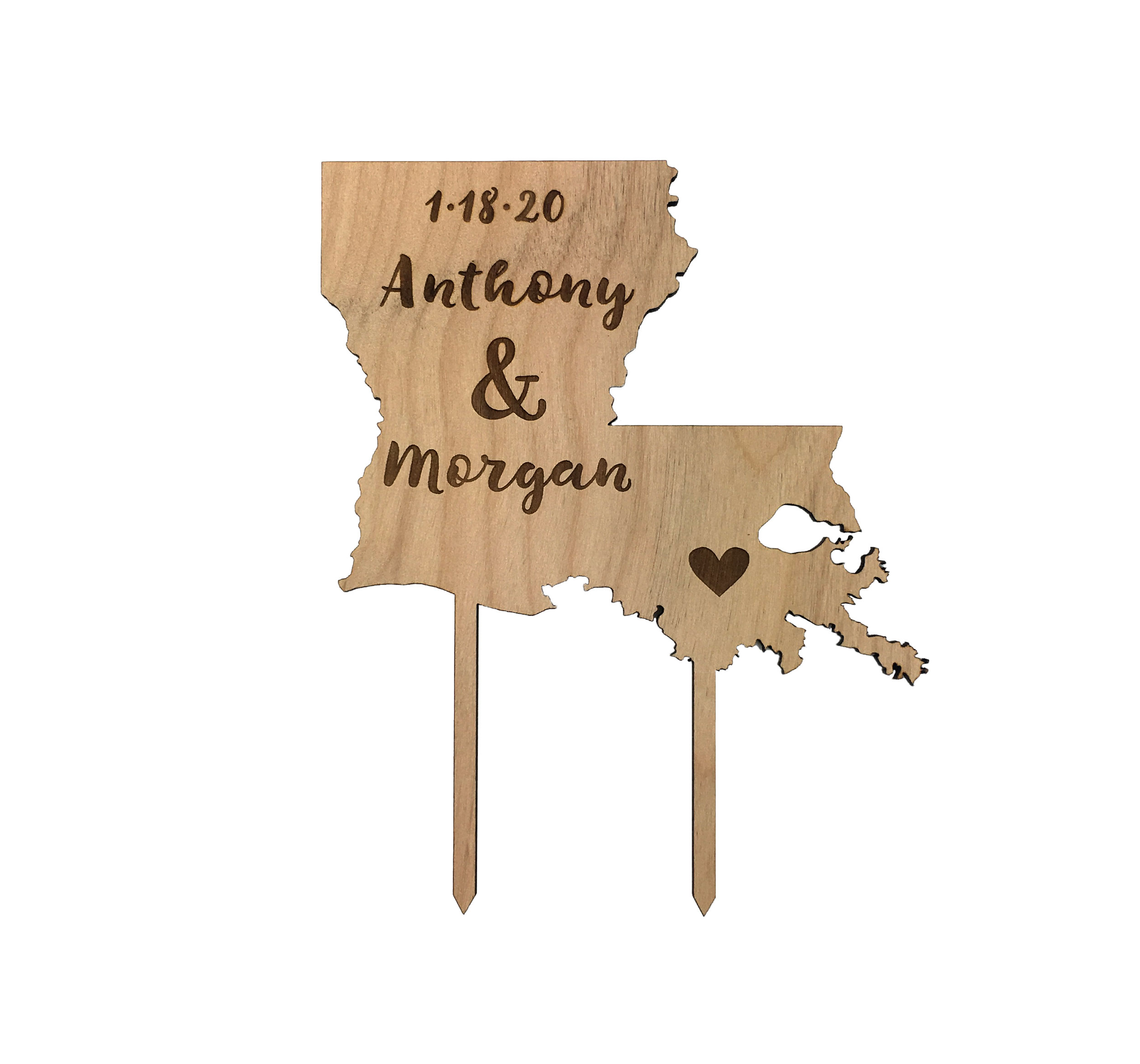Louisiana State cake topper, wood cake topper