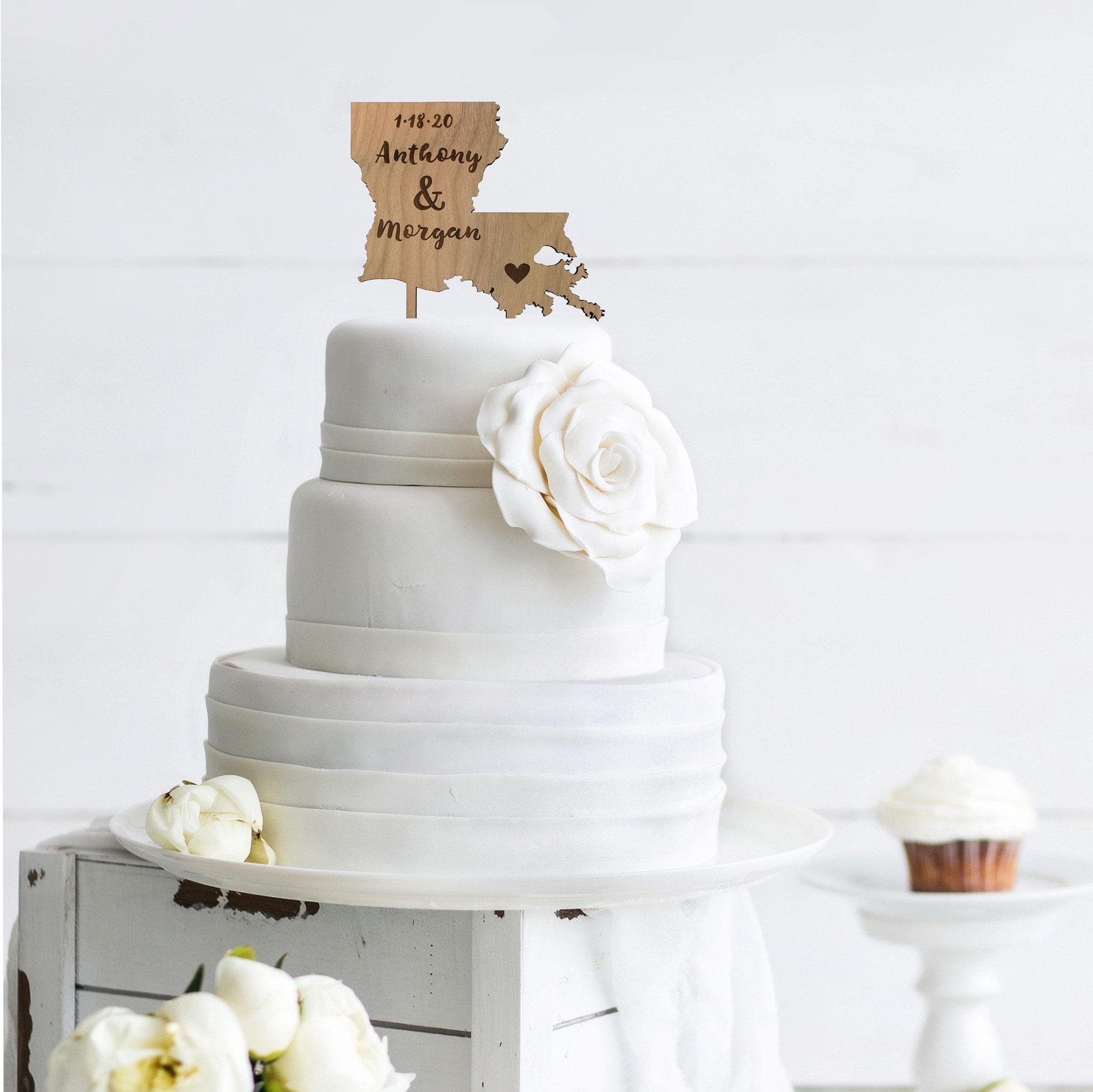 Rustic wood state cake topper