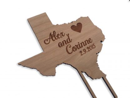 personalized state wood cake topper