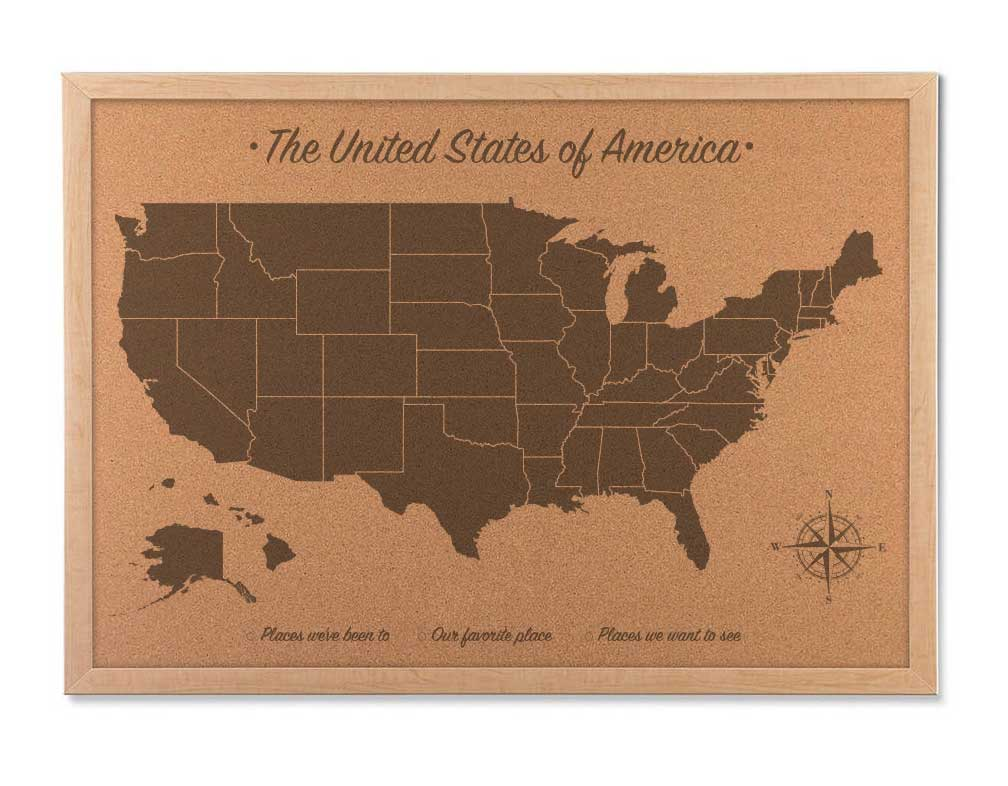 Cork Map of the United States, Cork US travel map, Cork board map
