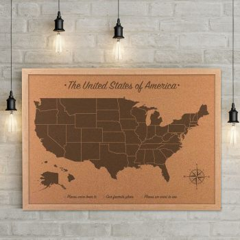 United States Cork Map, wood anniversary gift