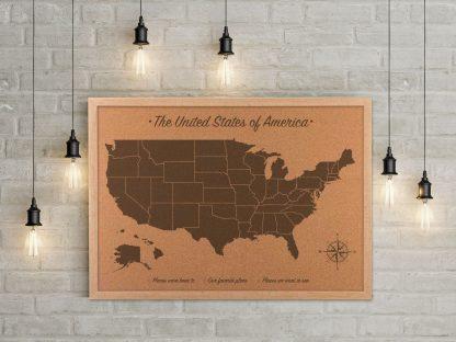United States Cork Map, wood anniversary gift