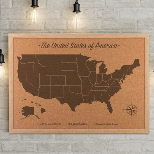 cork map of the USA, 5th anniversary gift