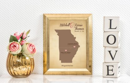 wedding map of two states, cotton anniversary gift