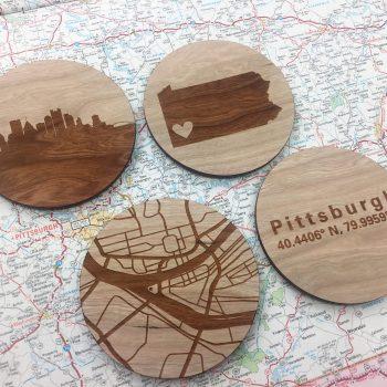 Pittsburgh PA Wood City Map Coasters