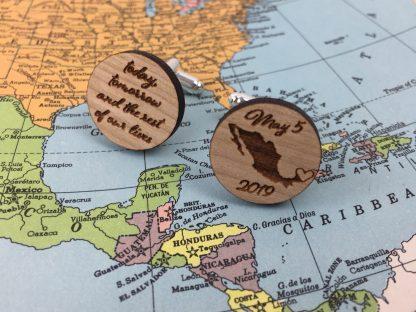wood cuff links