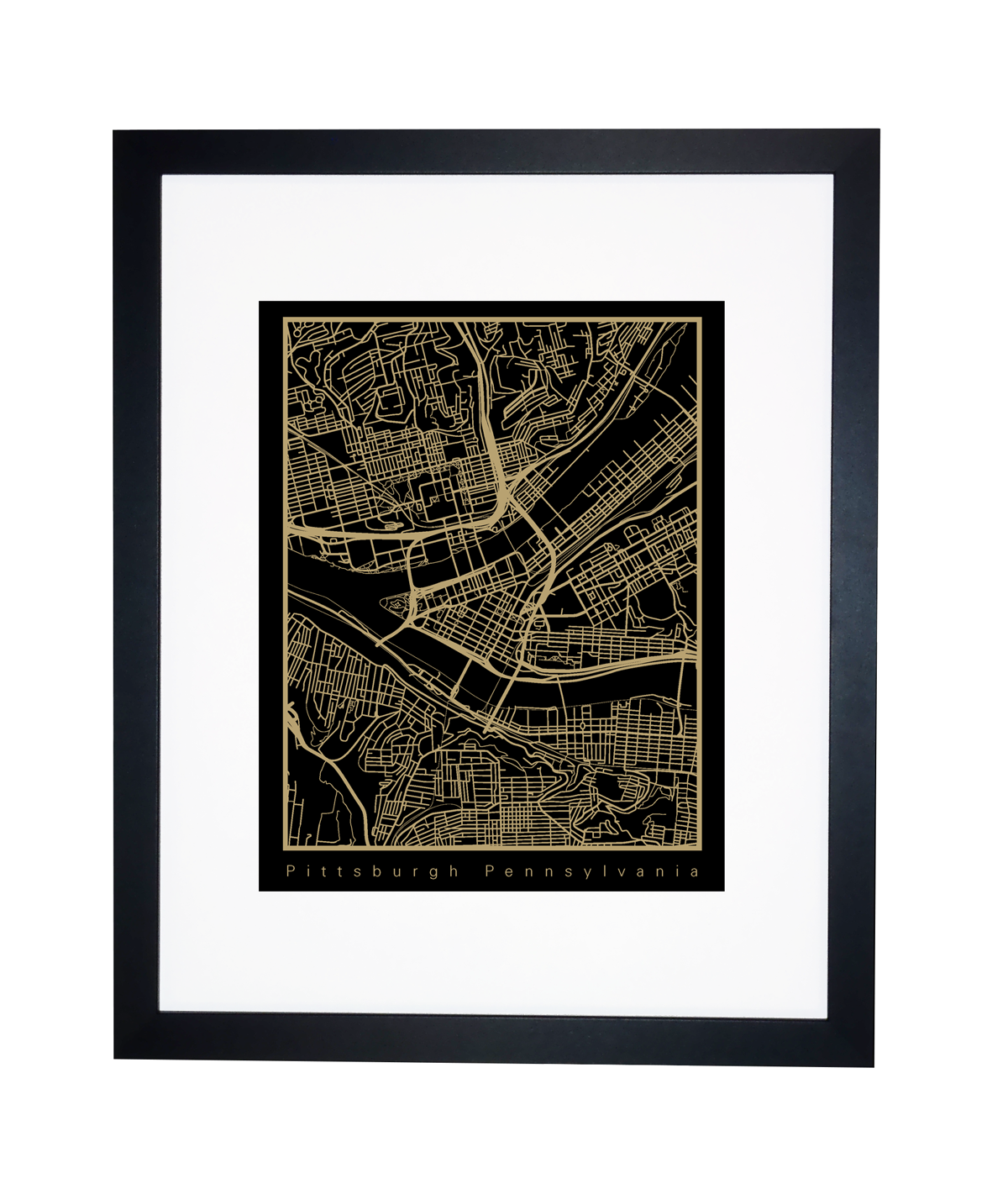 Black and Gold Pittsburgh City Map
