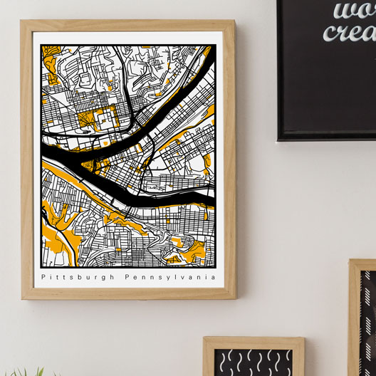 black and yellow Pittsburgh Map