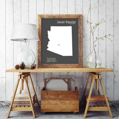 home state map, cotton anniversary gift