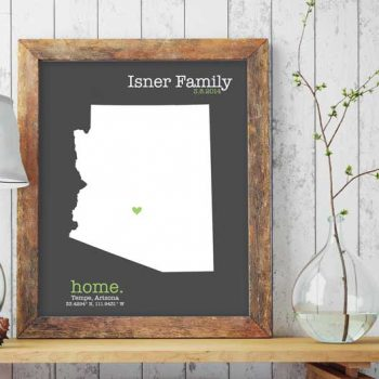 2nd anniversary map, heart on home state map