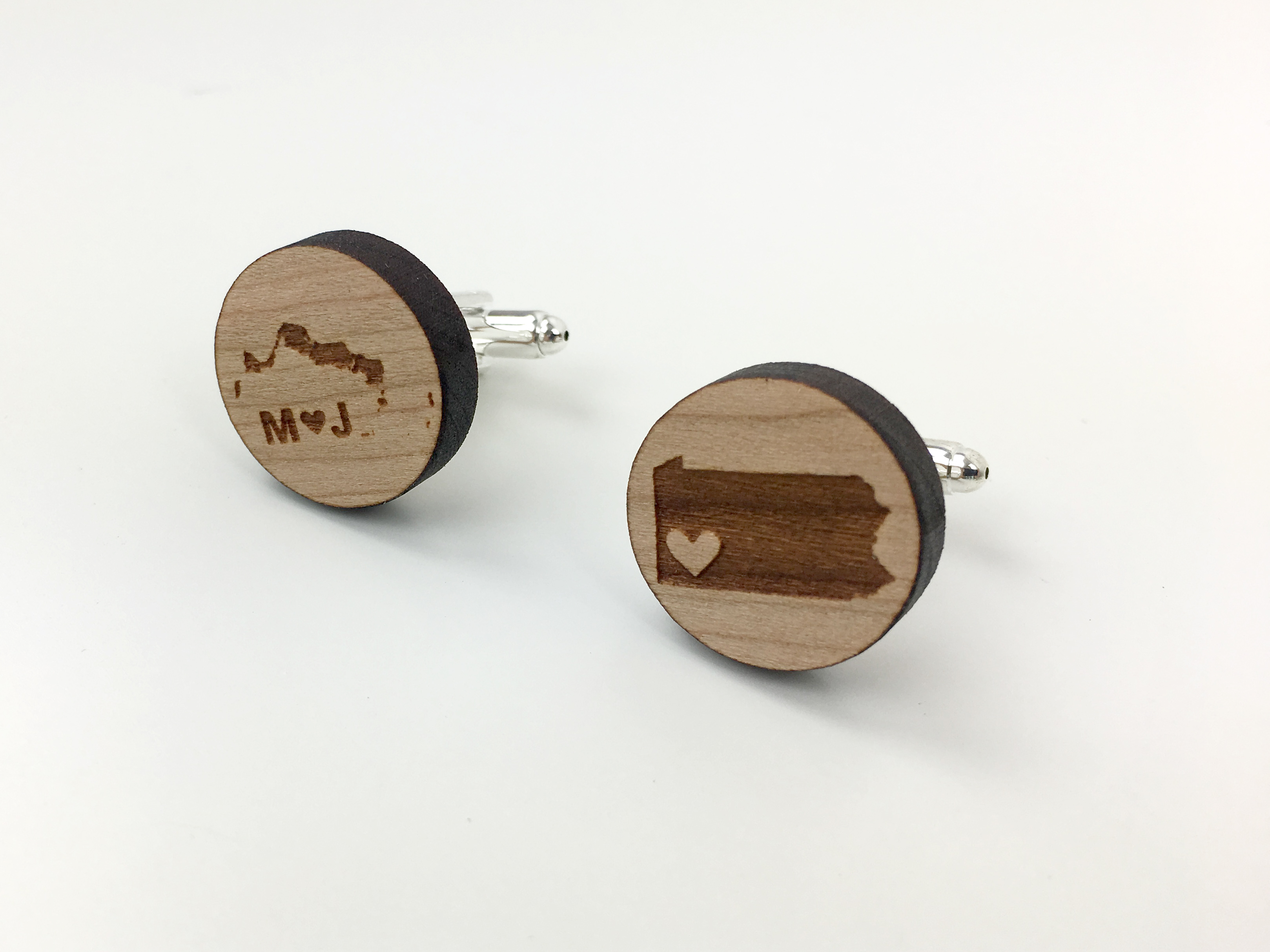 state silhouette cuff links