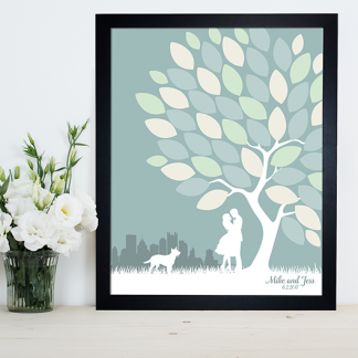 Pittsburgh silhouette wedding guest book
