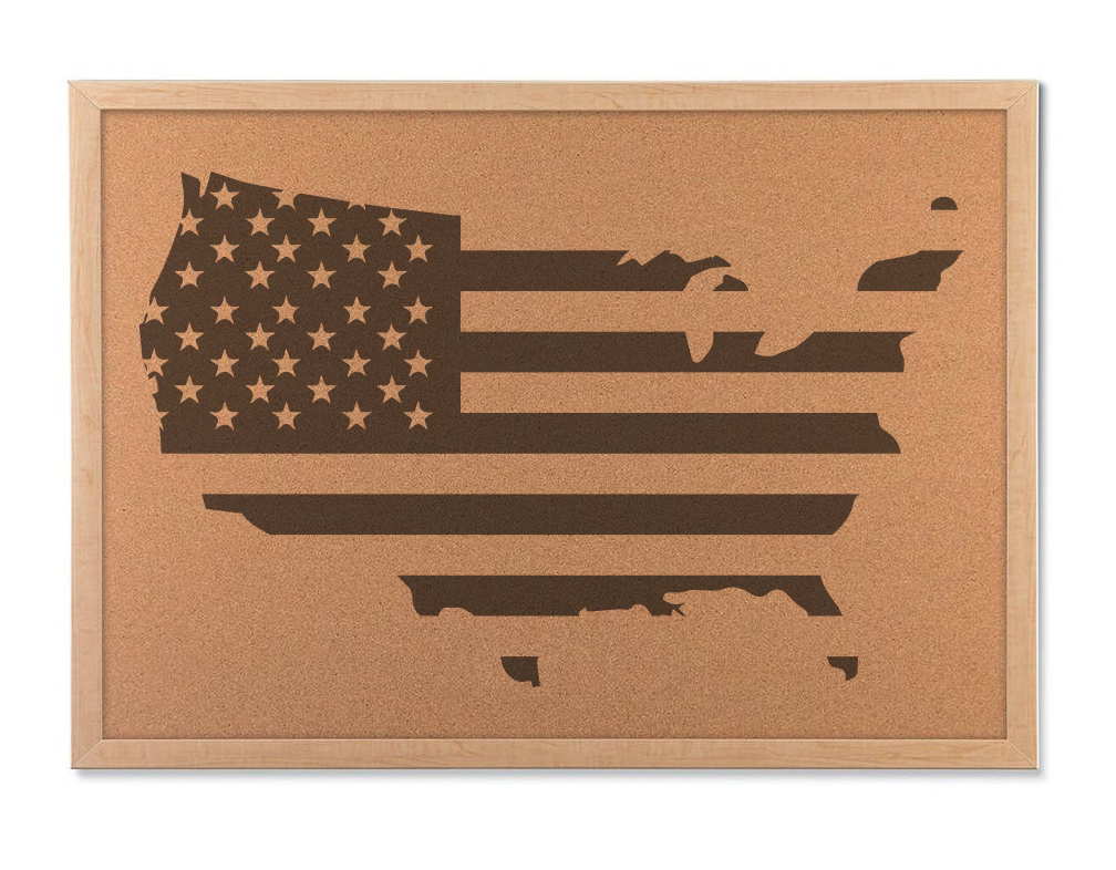 Rustic USA Cork Board Map Americana Decor and United States Travel Map