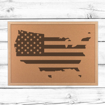 Cork board map of united states