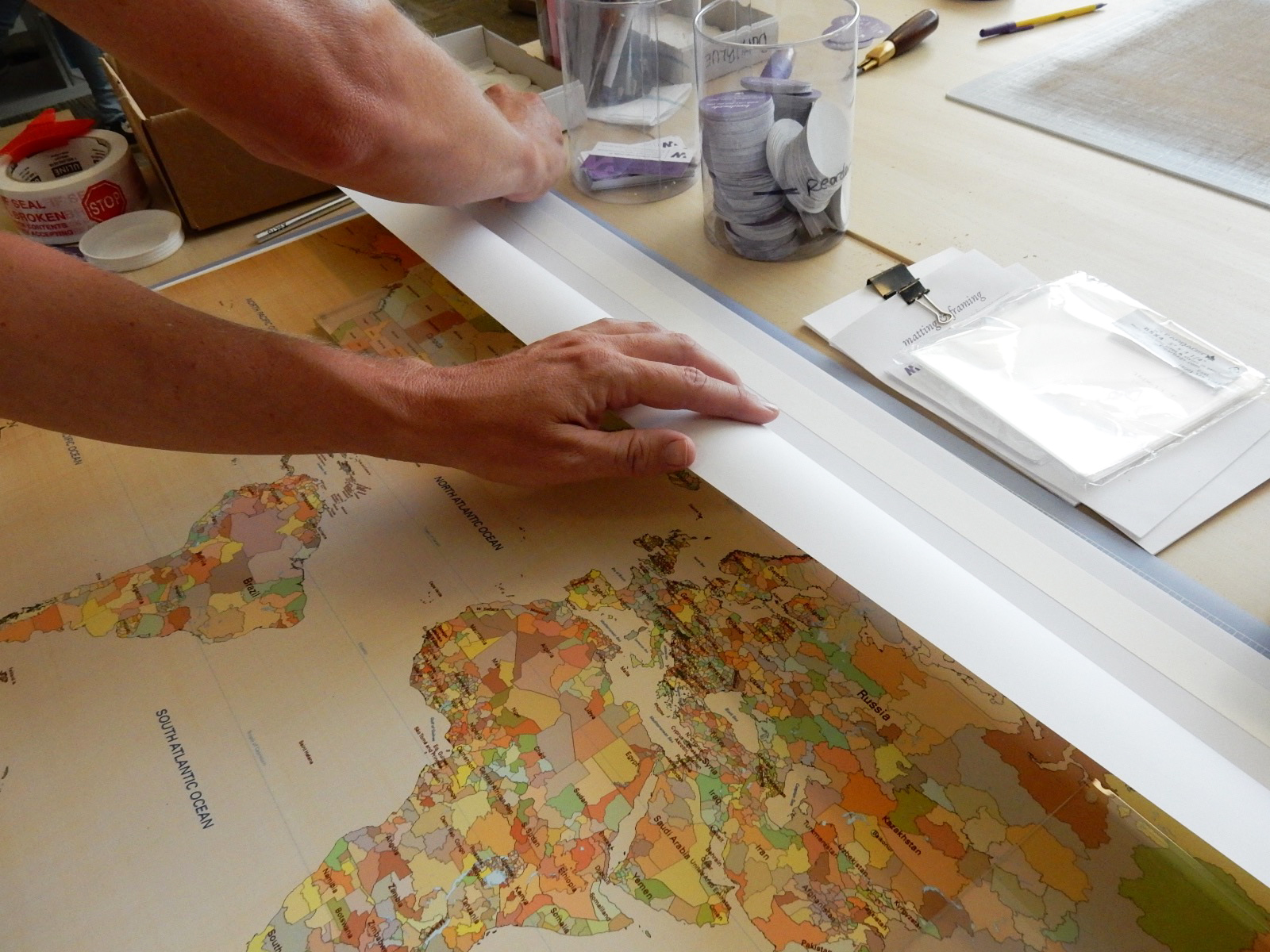 mounting a map on foam core