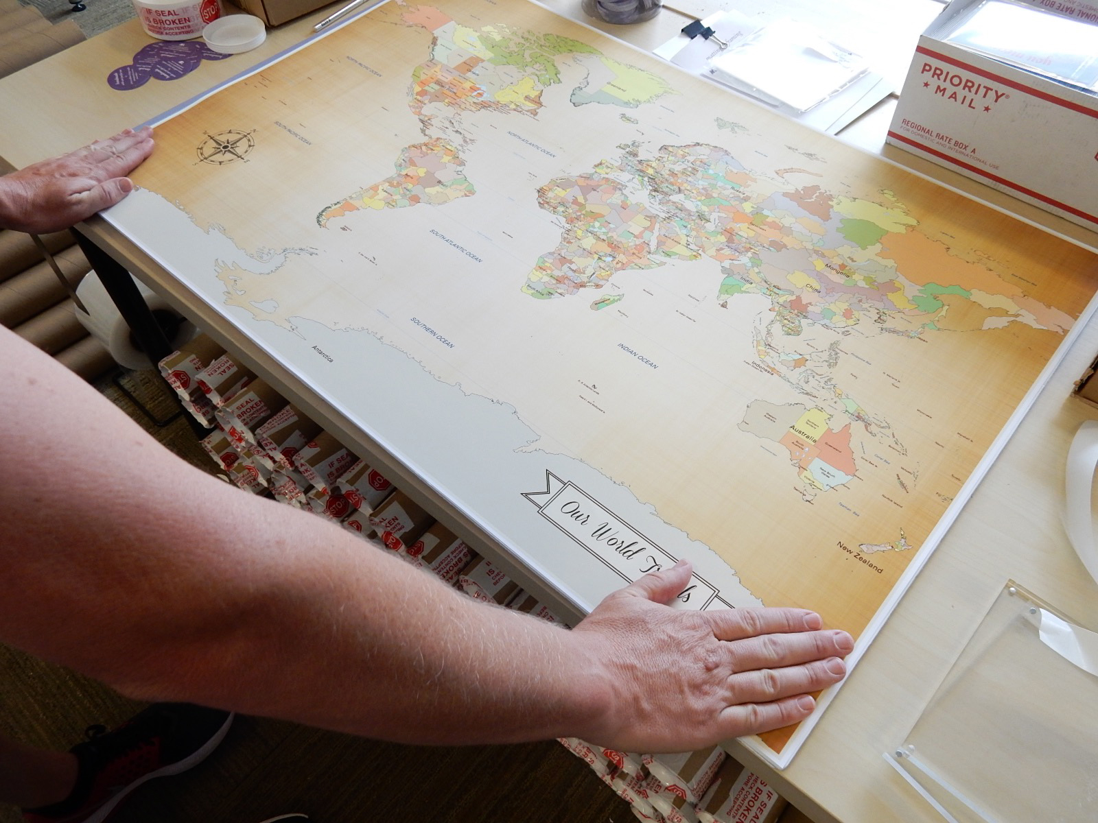 mounting a world map on foam core