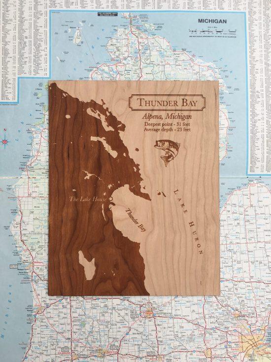 wood lake map for fisherman gift