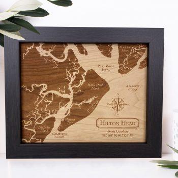 Hilton Head Island Map Wood