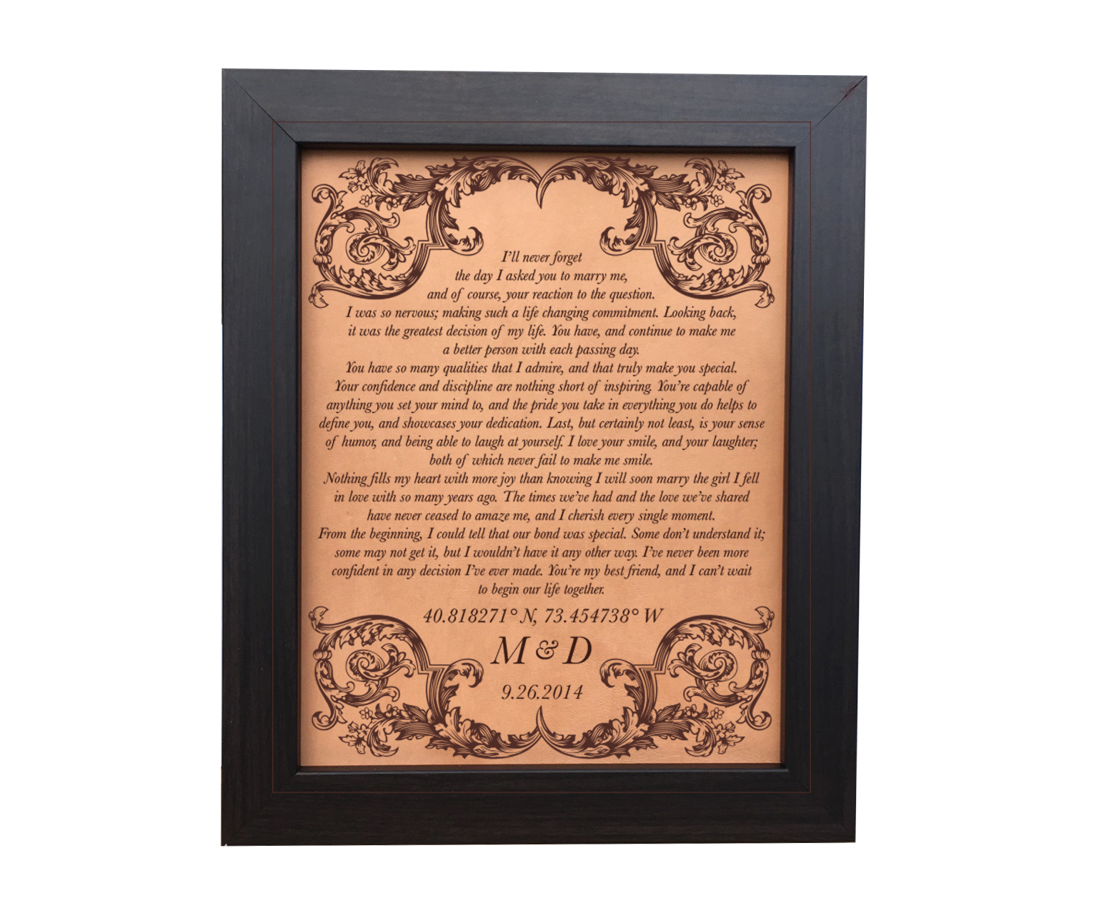 Engraved Wedding Vows On Leather