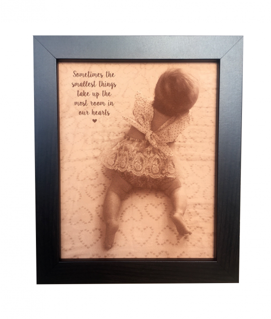 baby photo engraved on leather