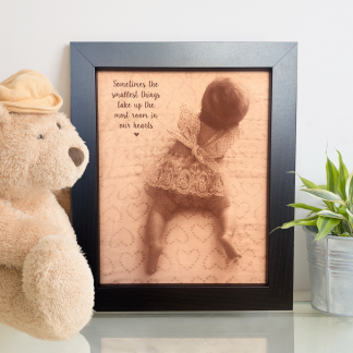 leather engraved photo of baby