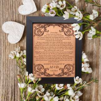 wedding vows engraved on leather