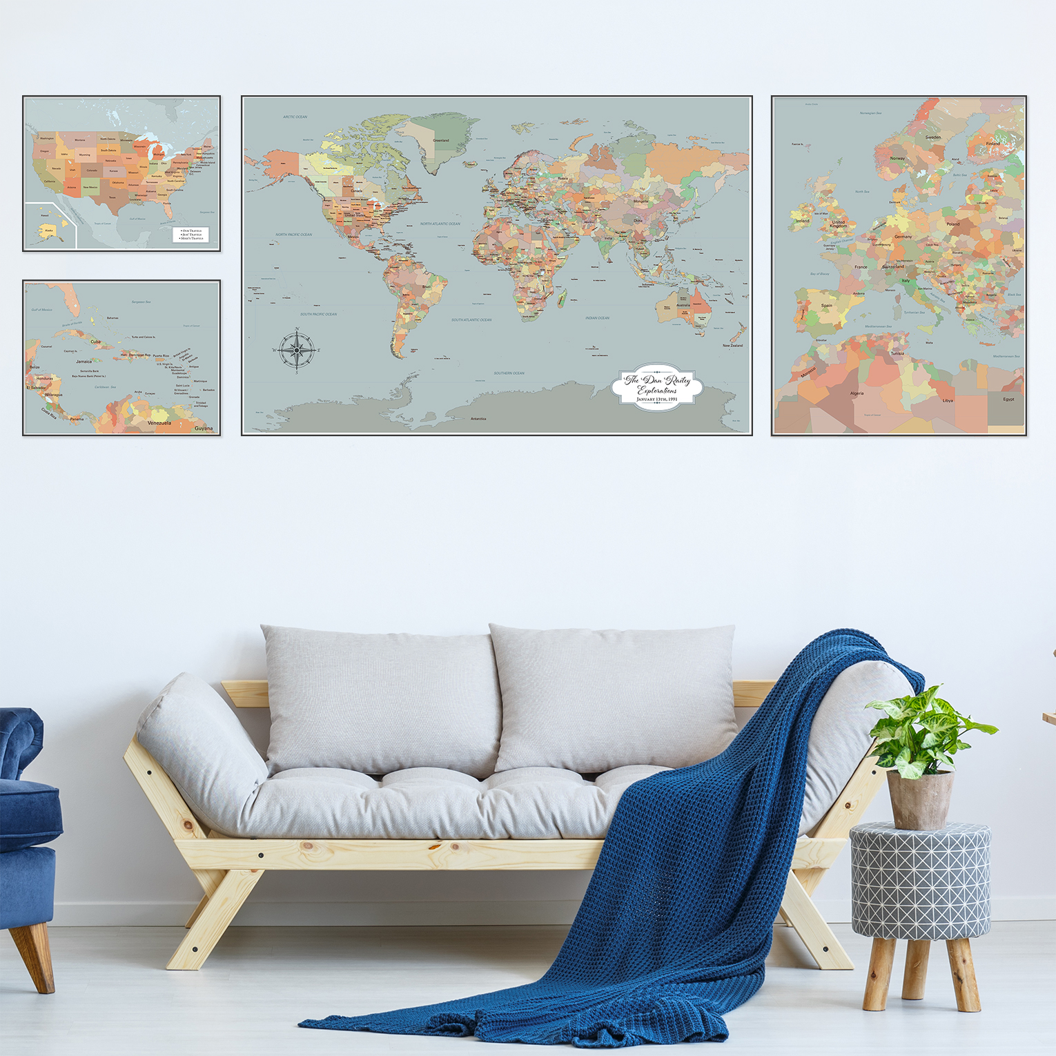large personalized world map