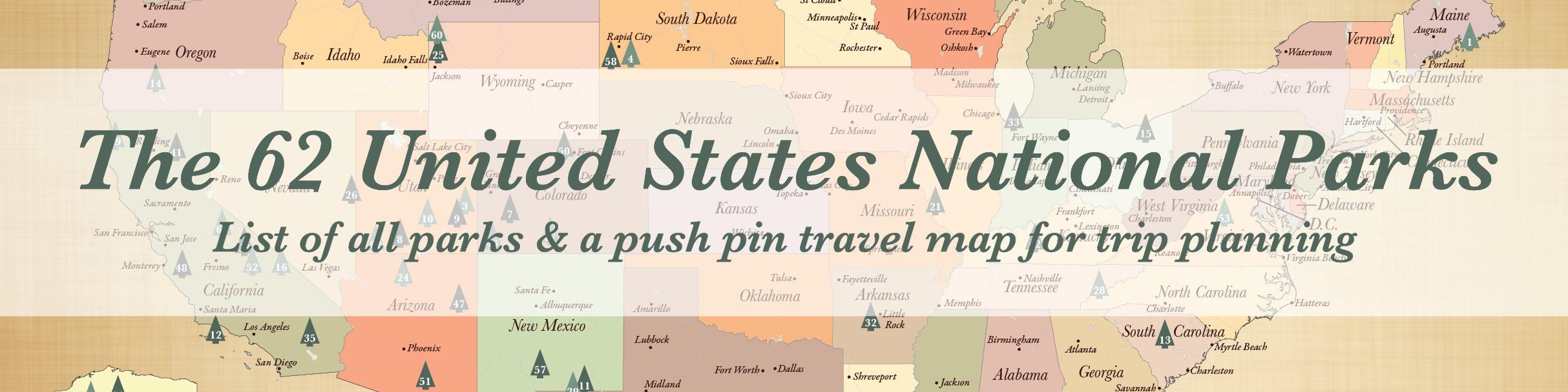 List of 62 US National Parks