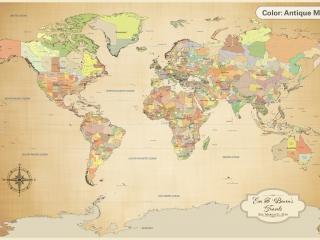 cotton anniversary push pin world map personalized