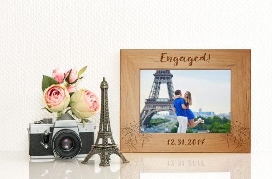 engagement gift idea, wood engraved frame
