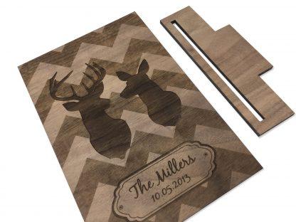 wood deer card