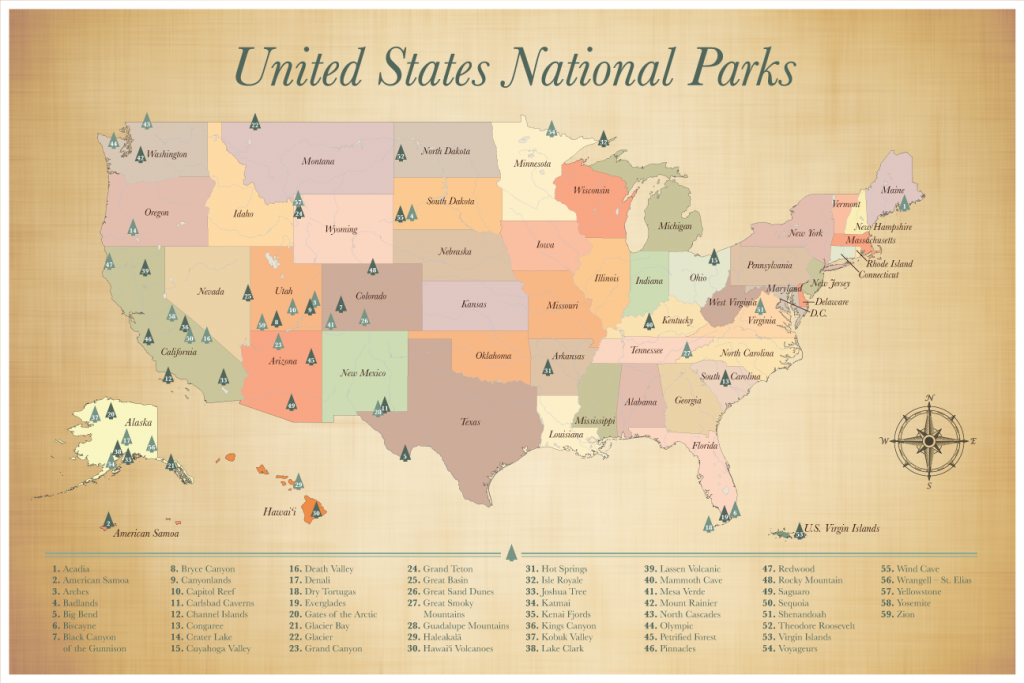 US National Parks List of 59 National Parks Map
