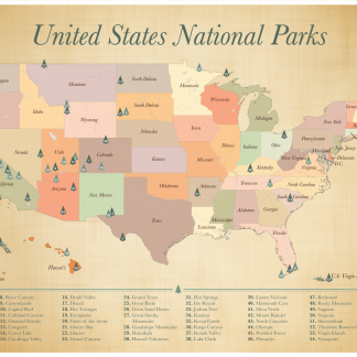 US National Parks List of 59 National Parks Map