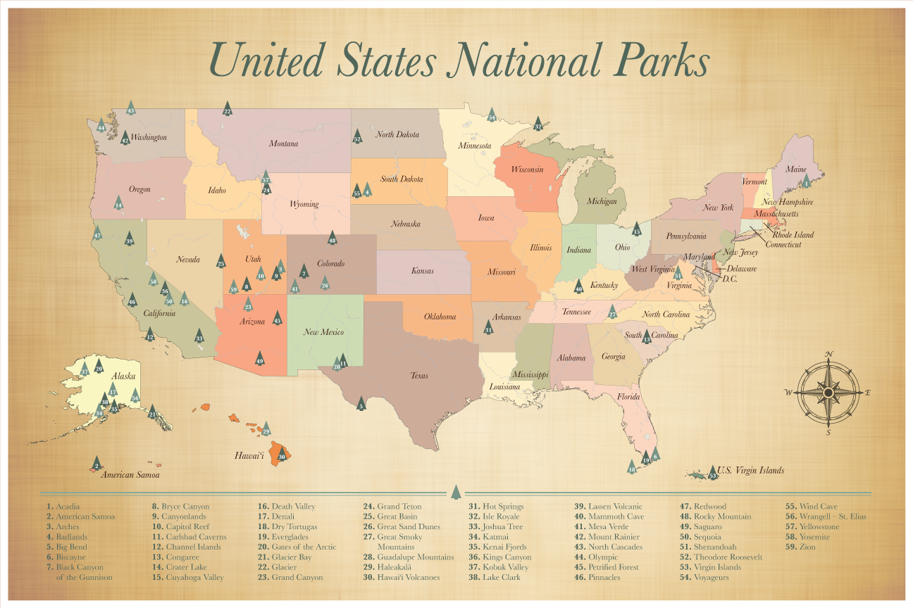 United States National Parks Map Push Pin Map of the US National Parks