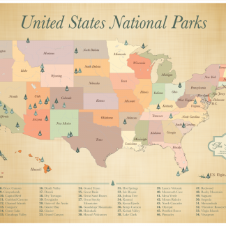 United States National Parks Push Pin Map