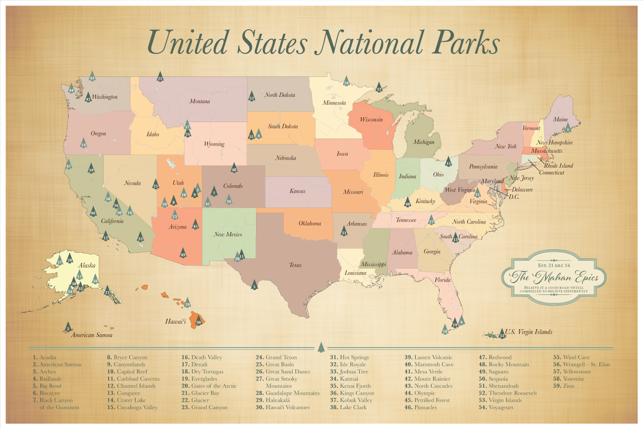 Push Pin US National Parks Map, US Parks Map with pins, list of 59 ...