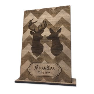 wood card, 5th anniversary, deer couple silhouette