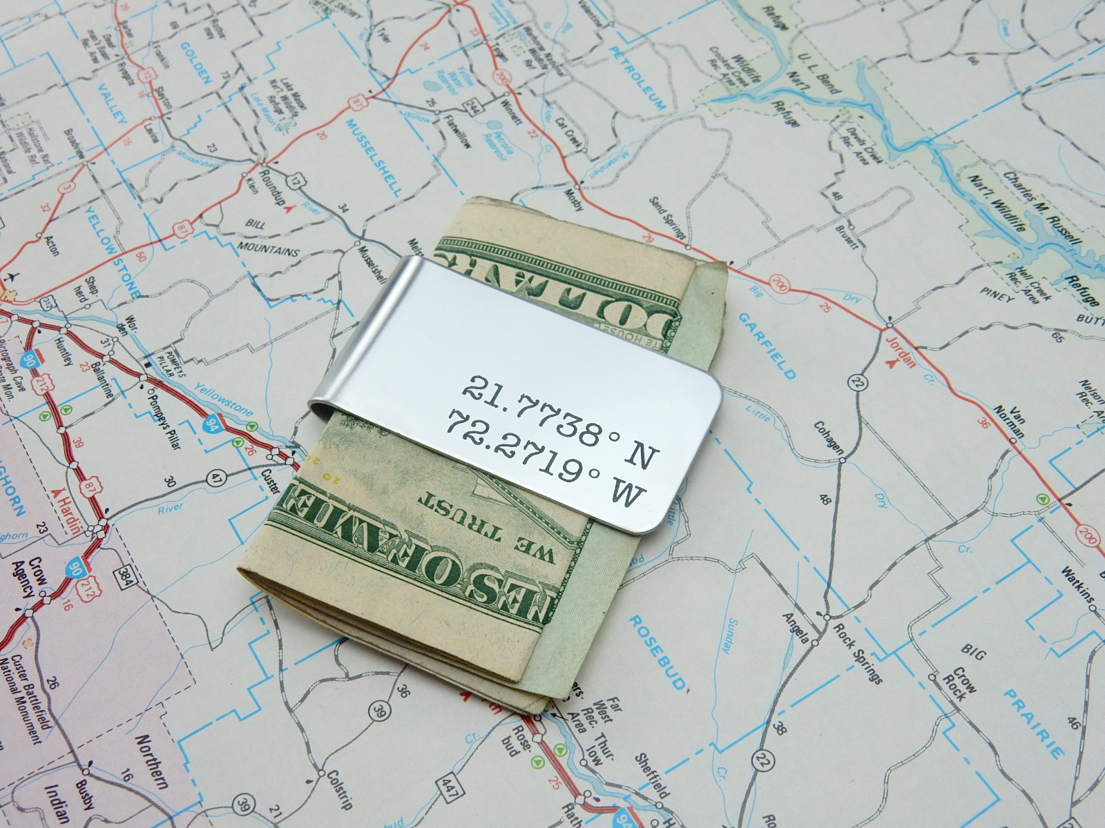 latitude longitude money clip