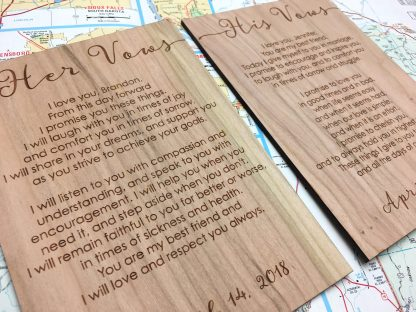 his and hers wood vow cards
